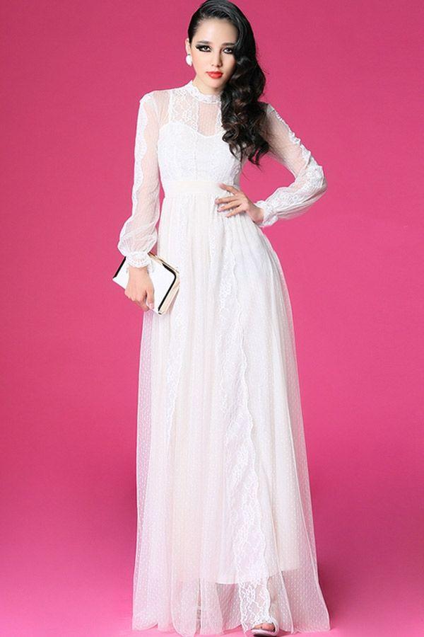 صور فستان ابيض طويل , اجمل موديلات اثواب باللون الابيض طويله