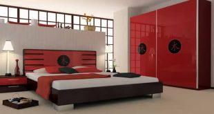 صور غرف نوم ابيض واسود واحمر , اجمل الوان اوض النوم الحديثه